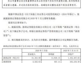 [券业场]多家上市券商披露7月份经营情况主要财务数据:浙商证券7月份母公司净利13.84亿元